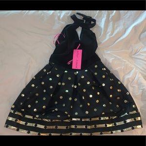 Betsy Johnson Punk Skirt Dress Gold Trim Polka dot